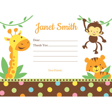 Baby Jungle Personalized Thank You (Each)