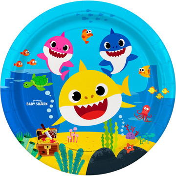 """Baby Shark 9"""" Lunch Plates, 8ct"""