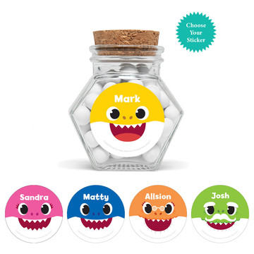 "Baby Shark - Choose Your Shark Personalized 3"" Glass Hexagon Jars, 12ct"