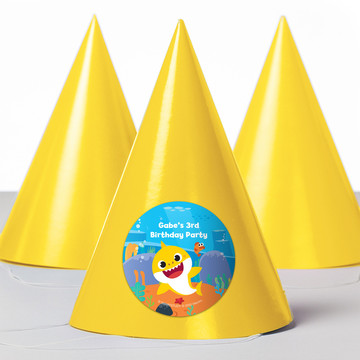 Baby Shark Personalized Party Hats, 8ct