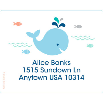 Baby Whale Blue Personalized Address Labels (Sheet of 15)