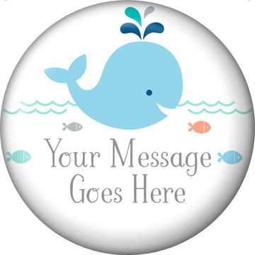 Baby Whale Blue Personalized Button (Each)