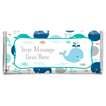 Baby Whale Blue Personalized Candy Bar Wrapper (Each)