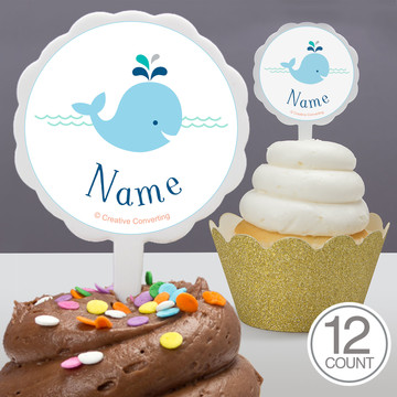 Baby Whale Blue Personalized Cupcake Picks (12 Count)