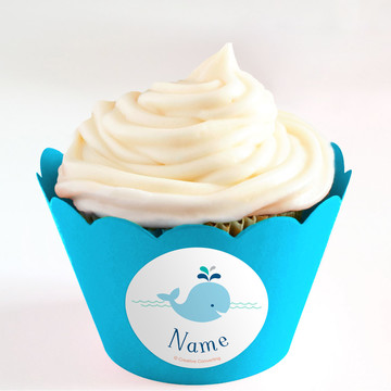 Baby Whale Blue Personalized Cupcake Wrappers (Set of 24)