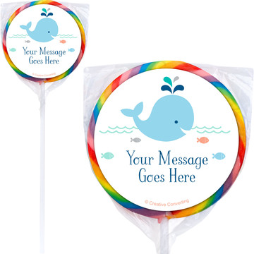 Baby Whale Blue Personalized Lollipops (12 Pack)