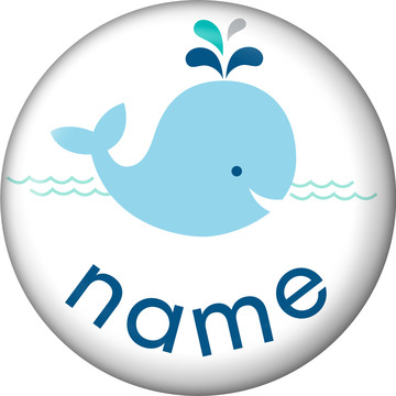 Baby Whale Blue Personalized Mini Button (Each)