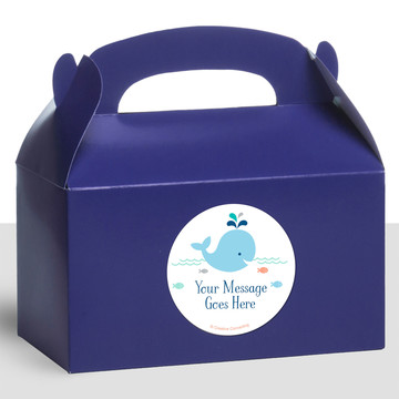 Baby Whale Blue Personalized Treat Favor Boxes (12 Count)