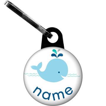 Baby Whale Blue Personalized Zipper Pull (Each)