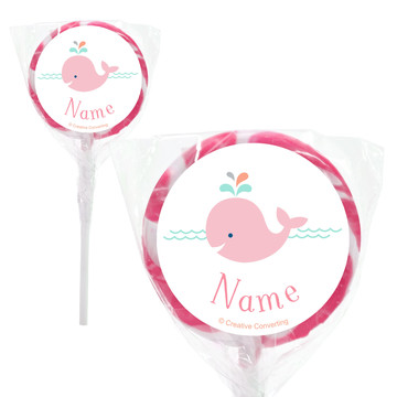 "Baby Whale Pink Personalized 2"" Lollipops (20 Pack)"