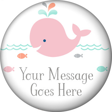Baby Whale Pink Personalized Button (Each)