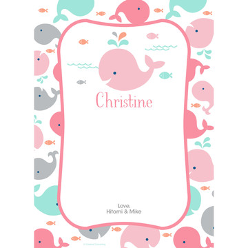 Baby Whale Pink Personalized Thank You (Each)