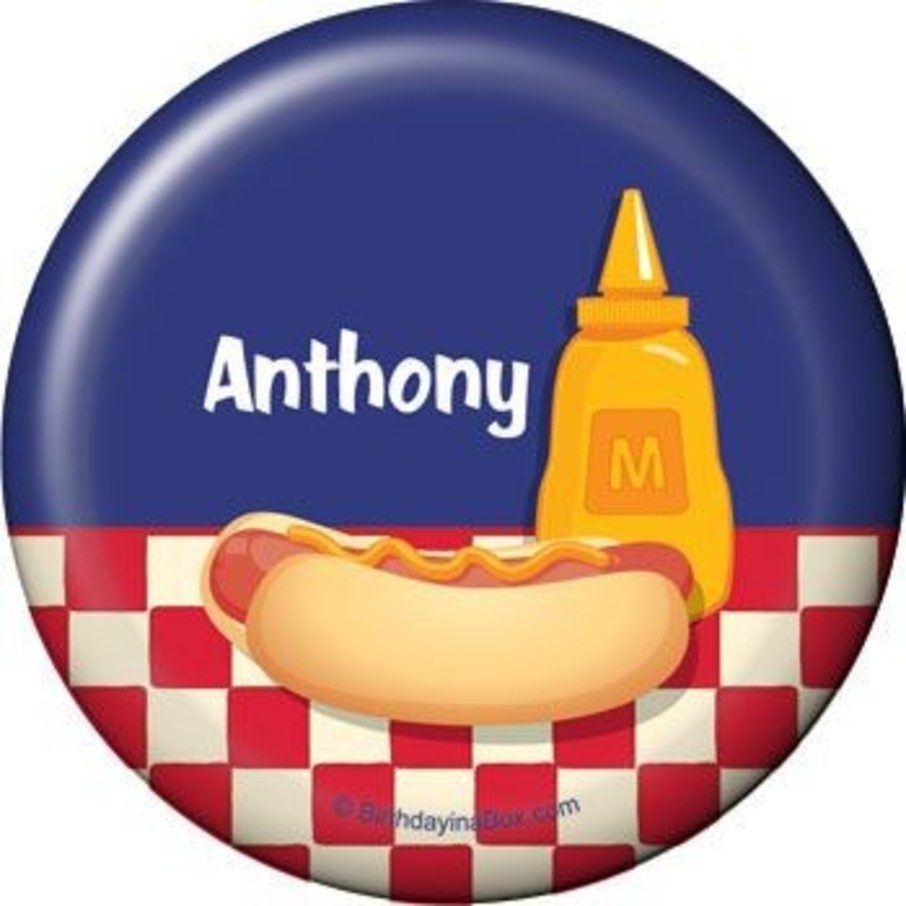 View larger image of Backyard Bbq Personalized Button (each)