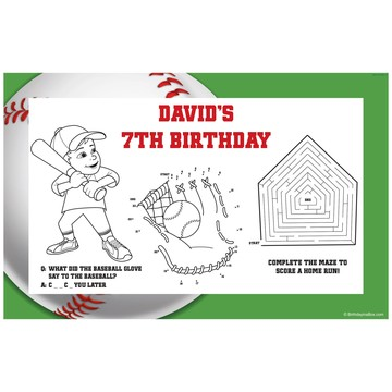 Baseball Party Personalized Activity Mat (8 pack)