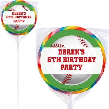 Baseball Party Personalized Lollipop (PACK OF 12)