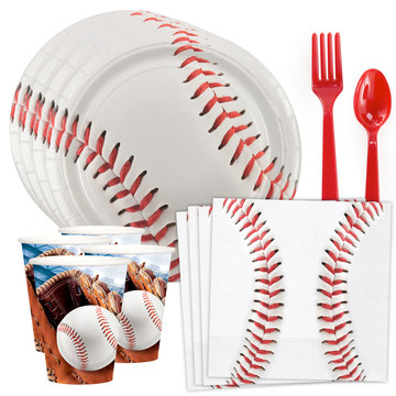 Baseball Party Standard Tableware Kit (Serves 8)