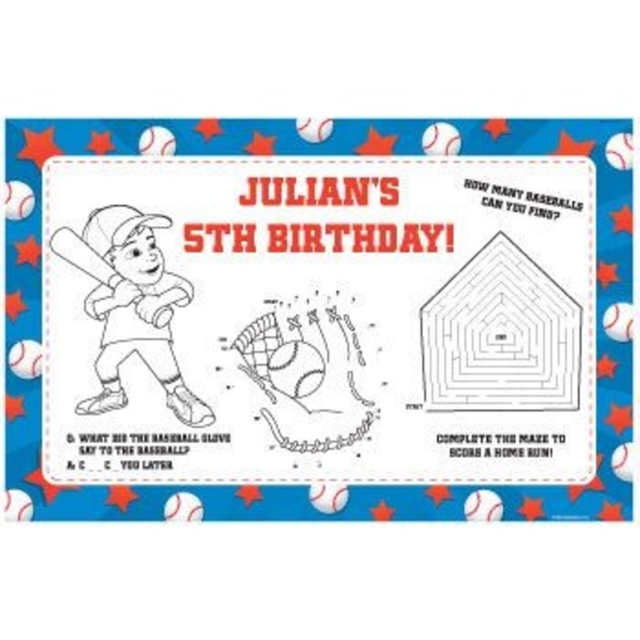 View larger image of Baseball Personalized Activity Mats (8-pack)