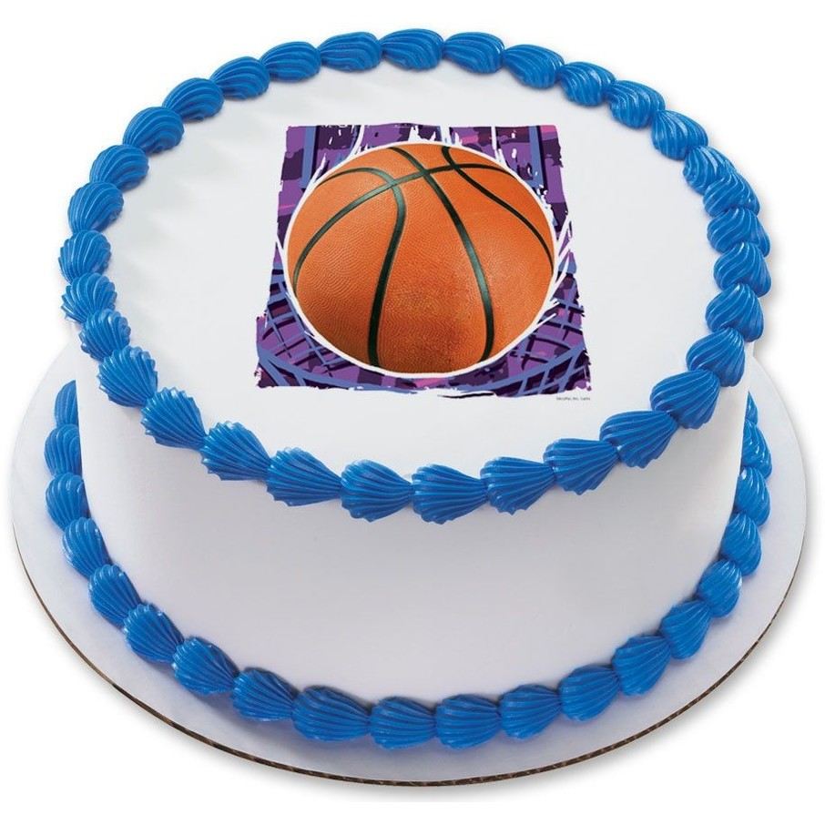 """View larger image of Basketball 7.5"""" Round Edible Cake Topper (Each)"""