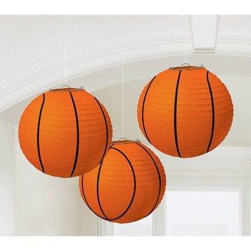 "Basketball 9 1/2"" Paper Lantern Decorations (3 Pack)"