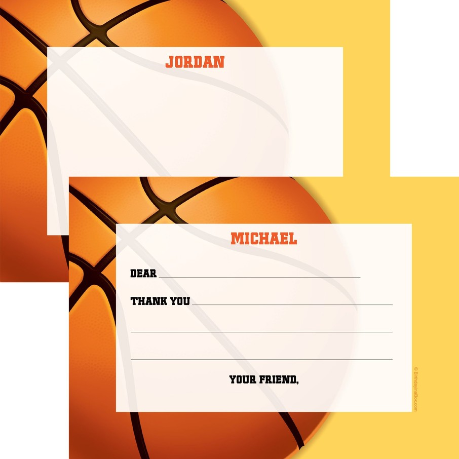 View larger image of Basketball Party Personalized Thank You Note