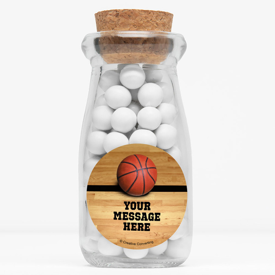 "View larger image of Basketball Personalized 4"" Glass Milk Jars (Set of 12)"