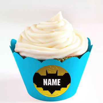 Bat Blocks Personalized Cupcake Wrappers (Set of 24)