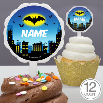 Bat Personalized Cupcake Picks (12 Count)