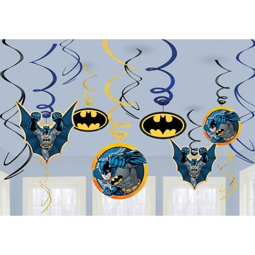 Batman Foil Swirl Hanging Decorations (12 Pack)
