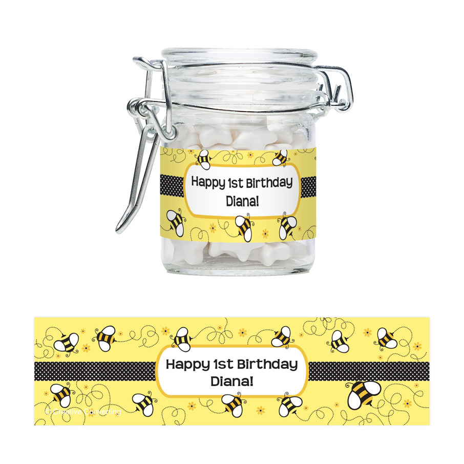 View larger image of Bee Personalized Swing Top Apothecary Jars (12 ct)