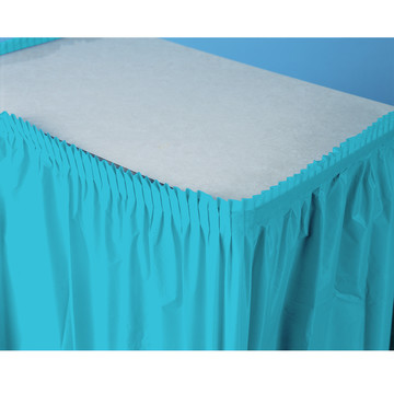 Bright Blue Plastic Table Skirt
