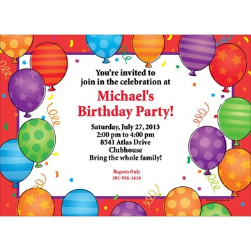 Birthday Balloons Invitation (Each)