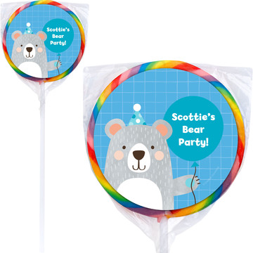 Birthday Bear Personalized Lollipops (12 Pack)