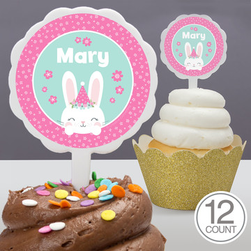 Birthday Bunny Personalized Cupcake Picks (12 Count)