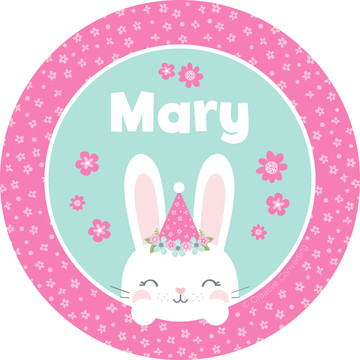 Birthday Bunny Personalized Mini Stickers (Sheet of 24)