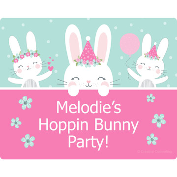 Birthday Bunny Personalized Rectangular Stickers (Sheet of 15)