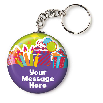 "Birthday Burst Personalized 2.25"" Key Chain (Each)"