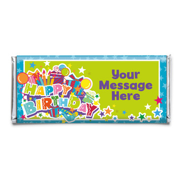 Birthday Burst Personalized Candy Bar Wrapper (Each)