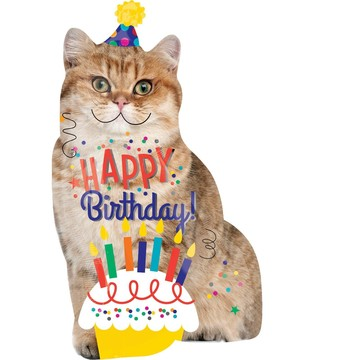 Birthday Cat Jumbo Foil Balloon