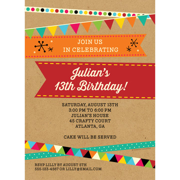 Birthday Craft Personalized Invitation (Each)