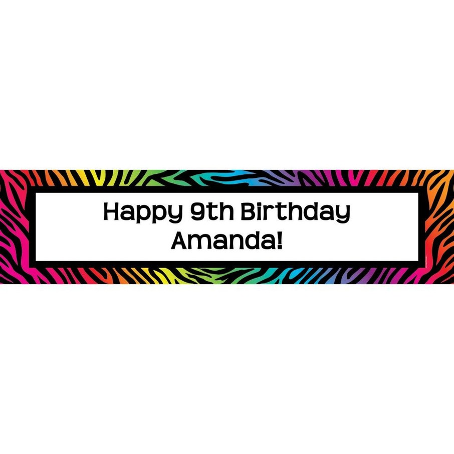 View larger image of Rainbow Zebra Personalized Banner