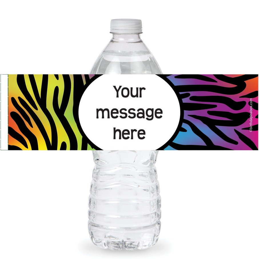 View larger image of Rainbow Zebra Personalized Bottle Labe