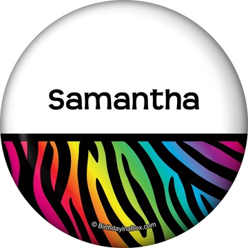 Rainbow Zebra Personalized Button