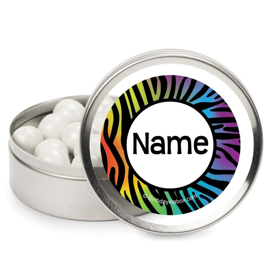 View larger image of Rainbow Zebra Personalized Candy Tins
