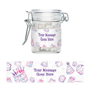 Birthday Doodle Personalized Glass Apothecary Jars (12 Count)