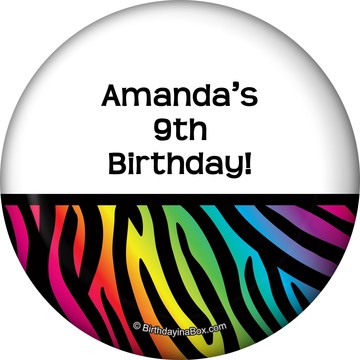 Rainbow Zebra Personalized Magnet
