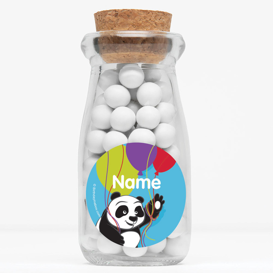 "View larger image of Birthday Panda Personalized 4"" Glass Milk Jars (Set of 12)"