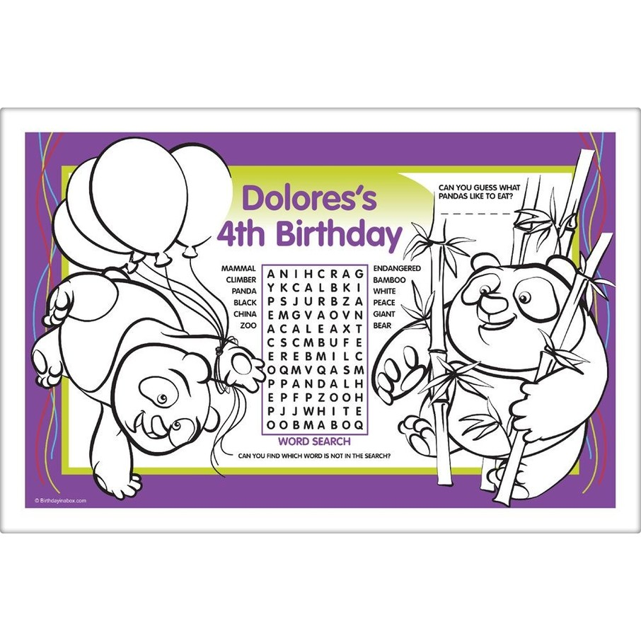 View larger image of Birthday Panda Personalized Activity Mat (8 Pack)