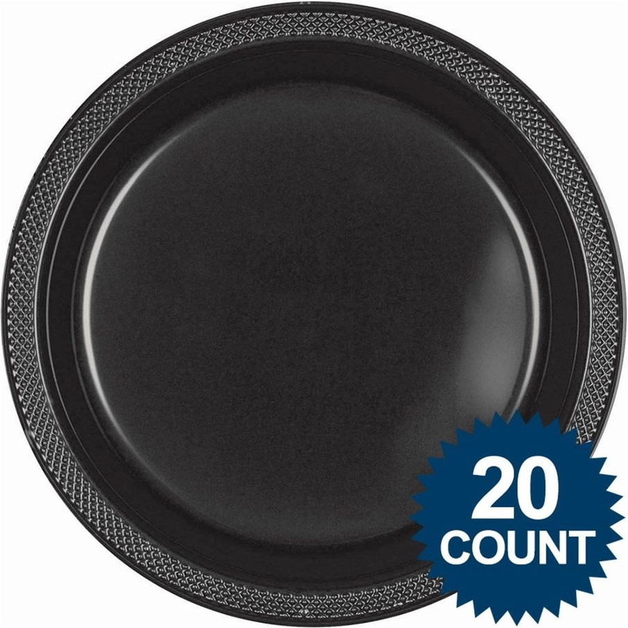 """View larger image of Black 10"""" Plastic Dinner Plates (20 Pack)"""