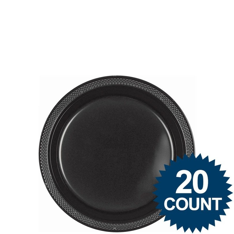 """View larger image of Black 7"""" Plastic Cake Plates (20 Pack)"""