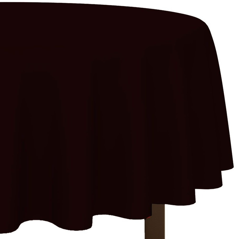 "View larger image of Black 84"" Round Plastic Table Cover (Each)"